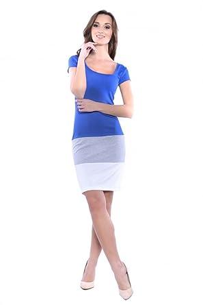 Damen Kleid Kurzarmkleid Mittellang Minikleid Dreifarbig Cocktailkleid  Sommerkleid Gr. S - 3XL, 8221 Blau