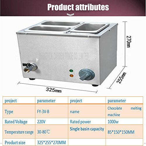 Commerical Three-cylinder Electric Chocolate Fountain Fondue Hot Chocolate Melt Pot Melter Machine (110V) by Hanchen Instrument® (Image #4)