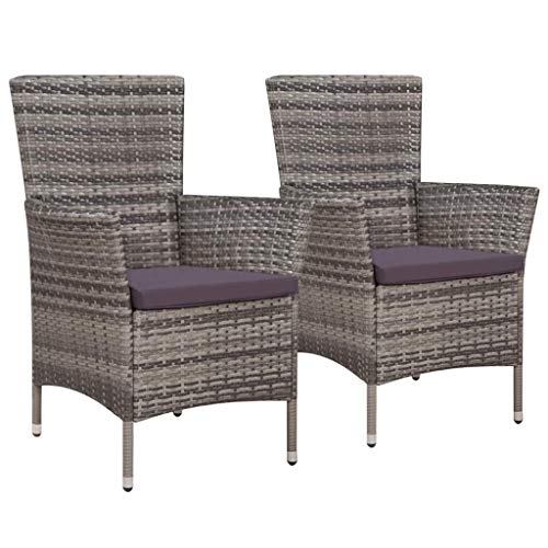 Festnight Patio Dining Chairs Set of 2 Outdoor Wicker Chairs with Comfortable Cushions Poly Rattan Gray