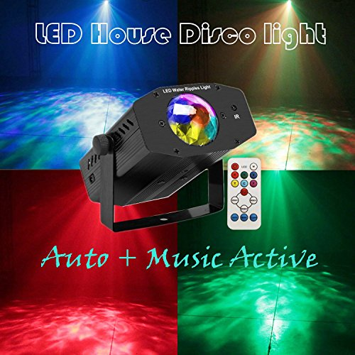 Disco Light Reching Portable DJ Party Lights in 8 Colors Water Waves Ripple Dance Stage Lighting Projector Sound Music Activated with Remote Controller For Night Party KTV Club Room Decoration (RGBEW)
