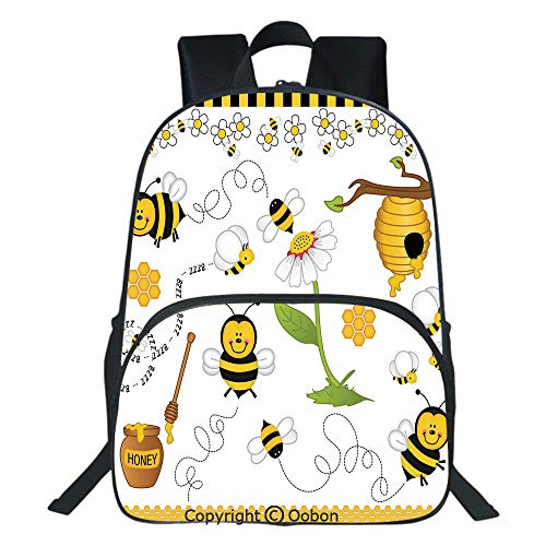 (Oobon Kids Toddler School Waterproof 3D Cartoon Backpack, Flying Bees Daisy Honey Chamomile Flowers Pollen Spring Animal Print, Fits 14 Inch Laptop)