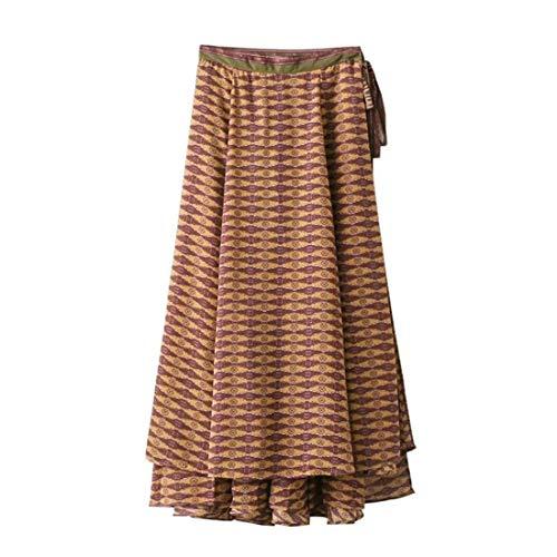 Jupe Femme Printemps Automne Longues Fille Jupes Fashion Vintage Elgante Taille Haute Fourcher Imprim Large Casual Maxi Jupe Jupe Plage Jaune