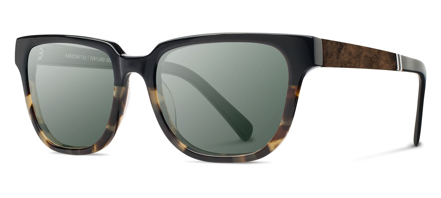 Shwood- Prescott Acetate, Sustainability Meets Style, Black Olive/Elm Burl, G15 Polarized Lenses by Shwood