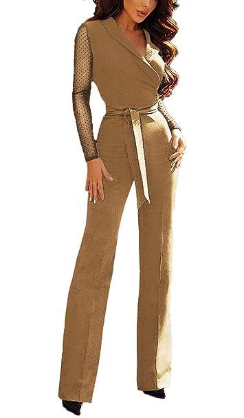 Monos Largos Vintage Mujer Cintura Alta Overall Manga Larga V ...