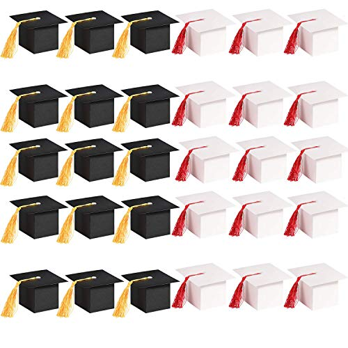 Xushop 30 Pack Graduation Cap Gift Candy Sugar Box,Chocolate Box Graduation Decor Party Favor Gift Boxes for Graduation Party(Black &White)]()