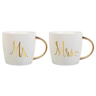 Slant Set of 2 14 Oz Ceramic Coffee Mugs - Mr & Mrs