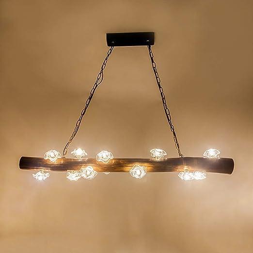 Henley - Lámpara colgante de madera, 12 focos, G4, 3000 K, diseño industrial, para restaurantes, bares, cafeterías: Amazon.es: Iluminación
