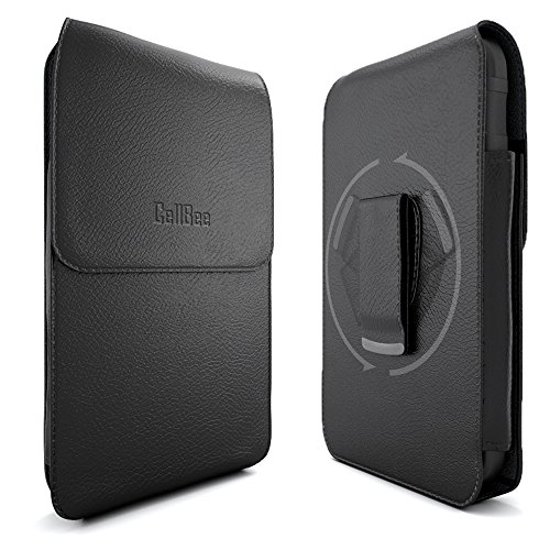 Galaxy Note 4 Pouch Case, CellBee Samsung Galaxy Note 4 Premium Leather Pouch Carrying Case with Belt Clip Belt Loops Holster for Samsung Galaxy Note 4 (Perfect Fits with Otterbox Commuter / Defender Case on Lifeproof Case on) w/ Stylus Touch Pen (Vertical Black) (Galaxy Note Pouch)