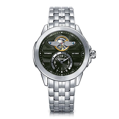 TIME100 Fashion Men's Army-series Skeleton Automatic Mechanical Stainless Steel Strap Watch #W60049G.02A