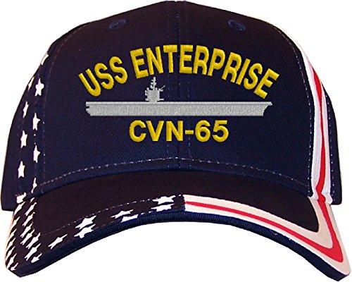 (Spiffy Custom Gifts USS Enterprise CVN-65 Stars & Stripes Baseball Cap Navy)