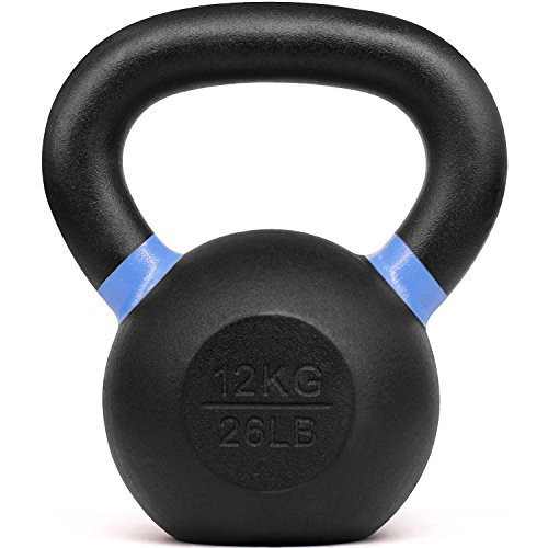 Yes4All Powder Coated Kettlebell Weights with Wide Handles & Flat Bottoms - 12kg/26lbs Cast Iron Kettlebells for Strength, Conditioning & Cross-Training