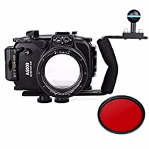 EACHSHOT 40m 130ft Waterproof Underwater Diving Camera Case For Sony A5000 16-50mm + Aluminium Diving handle + 67mm Red Filter