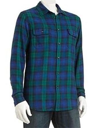 Sonoma Mens Flannel Shirt Western Blue Green Blackwatch Plaid At