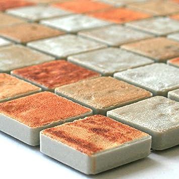 Keramik Mosaik Fliesen Cotto Beige Amazonde Baumarkt - Mosaik fliesen terracotta