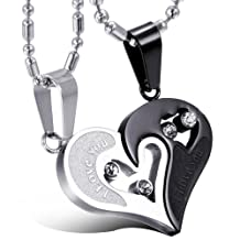 Oidea 2PcsStainless Steel Couples Shiny Rhinestone Love Heart Matching Pendant Necklace for Valentines Gifts