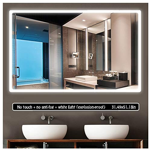 80 x 130cm Led Rectangular Mirror Illuminated LED Bathroom Mirror Light Sensor -