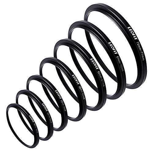 leofit 7pcs Metal Step Up Down 49-77 Camera Lens Filter Mount Adapter Ring Set for Camera 49-52-55-58-62-67-72-77mm ()