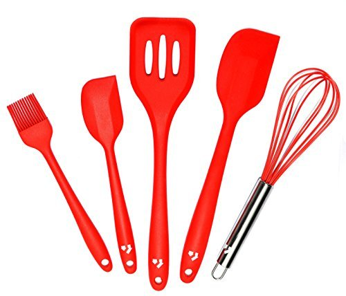 Price comparison product image MAGNUS Home Premium 5 Piece Silicone Cooking Kitchen Utensils Set - Slotted Turner,  Large Spatula,  Small Spatula,  Basting Brush,  Whisk - in Hygienic Solid Coating by Magnus Home