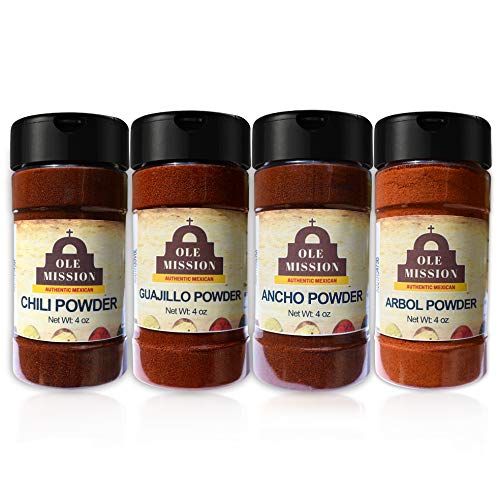 Chili Powder Kit 4 Pack 16 oz - Tex Mex Pure Spice Mix, Ancho, Guajillo, Arbol Great For Texas Mexican Style Chili By Ole Mission