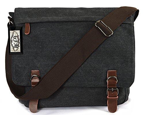 Lienzo bolso bandolera de boda de estilo clásico bolso bandolera para - School, college, Uni, oficina, viajar o para el Casual para accesorios del bebé Large Size - Style 4 - Charcoal Black (#KL05)