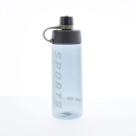Botella de agua deportiva, gris pizarra con toalla de gimnasio personalizada, morado