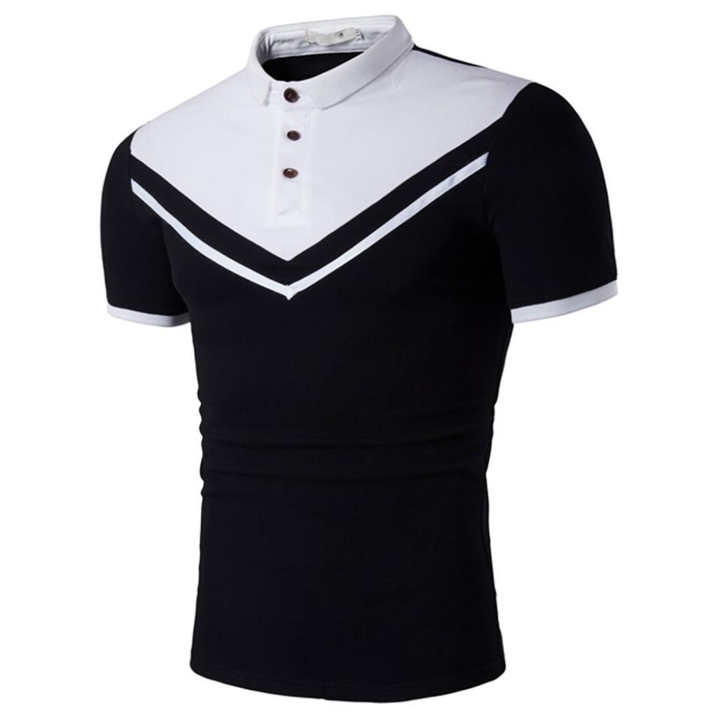 iLXHD Men's Summer Casual Printed Short Sleeve T-Shirt Muscle Blouse Top Tee(XL,Black)