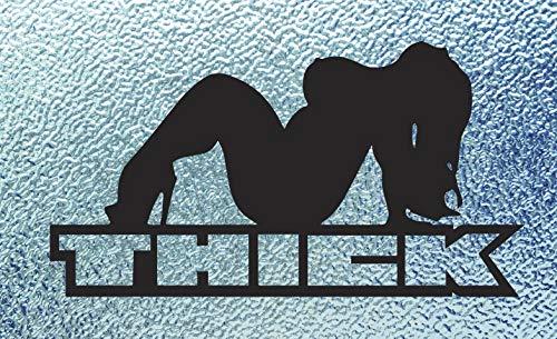 CRDesign Thick Chick JDM Decal Car Truck Bumper Window Sticker - Flap Girl Mud