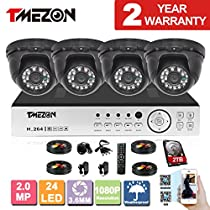 TMEZON 8 Channel AHD Surveillance System 2.0MP 1080P HD Megapixel Security Camera HD-AHD DVR Kit and 4 x 2.0MP 1080P Infrared Cameras System 2TB HDD