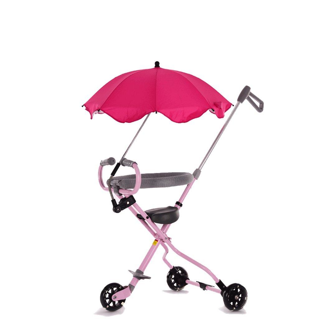 子供の三輪車1-6歳のベビーベビーカー赤ちゃん折りたたみ式の赤ちゃんキャリッジ、青、ピンク、黒、52.5 * 100cm ( Color : Pink ) B07C6C7VVN