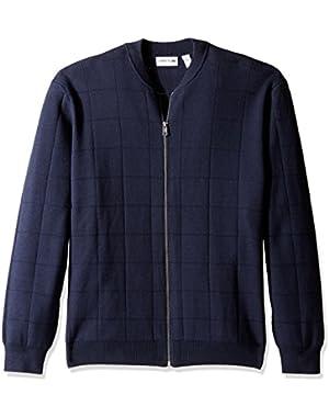 Men's Full Zip Windowpane Stitch Sweater