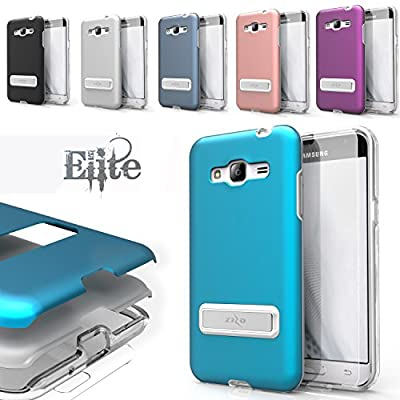 Zizo ELITE Cover for Samsung Amp Prime / J3 2016 / Express Prime w/ Built-in MAGNETIC Kickstand] Shockproof Protection Lightweight [Metallic Hybrid] w
