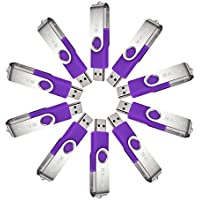 MECO 10Pcs 1GB 1G USB 2.0 Flash Drive Memory Stick Fold Storage Thumb Stick Pen Swivel Design Purple