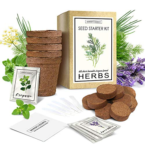 Herb Garden Starter Kit Indoor | Natural, Organic Growing Kit | Perfect for Gardener Gifts | Pots, Markers, Seed Packets, Soil Mix | Lavender, Dill, Chives, Oregano, Fennel | Sower's Source
