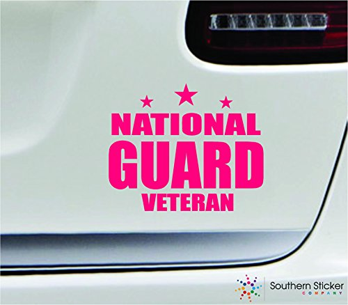 - National guard veteran 5.4x4.4 pink soldier military war veteran america united states color sticker state decal vinyl - Made and Shipped in USA