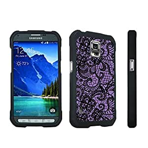 DuroCase ? Samsung Galaxy S5 Active SM-G870A Stylish Hard Case Black - (Lace Flower Deep Purple)