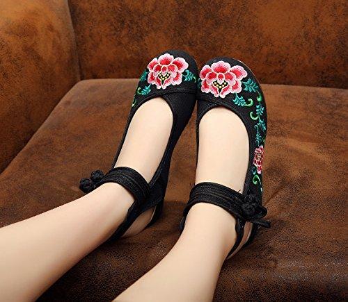 XHX Zapatos bordados, lino, lenguado, estilo étnico, zapatos femeninos, moda, cómodo, sandalias Black