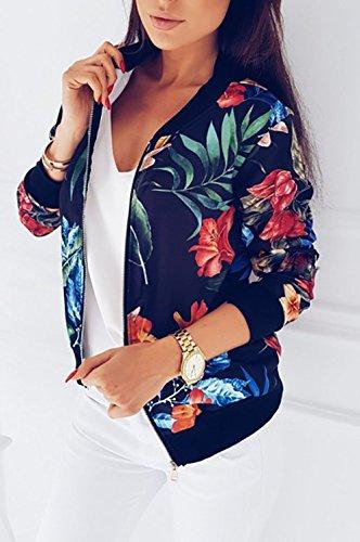Primavera Donna Moda Coat Sottile Cappotto Con Jacket Cappotti Nero Giacca Zip Lunga Rotondo Parka Bomber Casual E Collo Stampa Outerwear Autunno Giacche Manica rqxFrOt