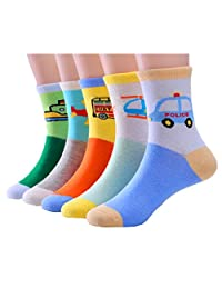 Little Boys Thicker Socks Cotton Pure Color Comfort Crew Socks 5 Pair Pack
