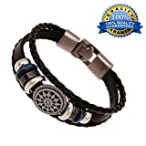 Mens Tibetan Bells Leather Bracelets Religious Handmade Braided Gifts,7.8inches