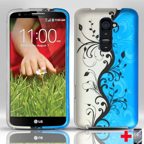 Lg-G2-Blue-Silver-Vines-Rubberized-Design-Mobile-Phone-Cover-Screen-Protector-From-Triple8Accessories