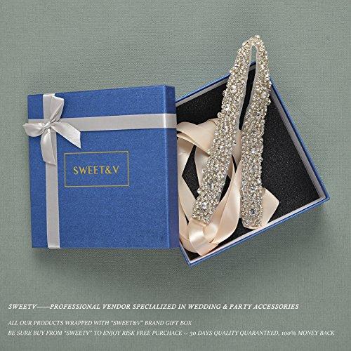 Sweetv elegant crystal rhinestone belt bridal sash belt for Wedding dress accessories belt