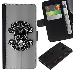 LASTONE PHONE CASE / Lujo Billetera de Cuero Caso del tirón Titular de la tarjeta Flip Carcasa Funda para Samsung Galaxy S5 Mini, SM-G800, NOT S5 REGULAR! / Rock Roll Sign Neon Bar Pub Black