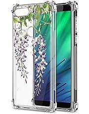Oihxse Cristal Compatible con Huawei Honor 10 Lite Funda Transparente TPU Silicona Estuche Airbag Esquinas Anti-Choque Anti Rasguños Diseño Rosa Flower Caso (Flores A2)