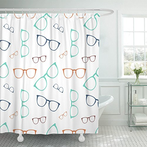 (Emvency Fabric Shower Curtain Curtains with Hooks White Eye Colorful Glasses Eyeglasses Specs Collection Cool Elegance Graphic Hipster 60