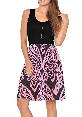 Poulax Women Casual Sleeveless Striped Print Swing Mini T Shirt Tank Dress,Z-Z Pink,L