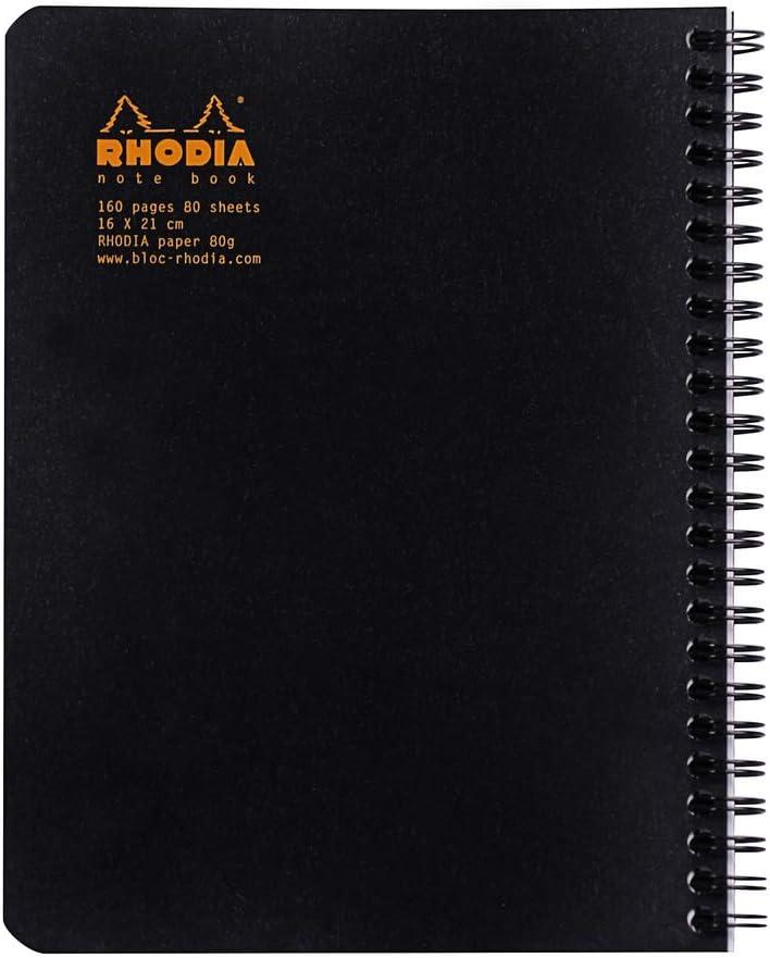 RHODIA Notebook Quaderno a spirale classico 160 pagine piccole tessere 80 g 16 x 21 cm nero