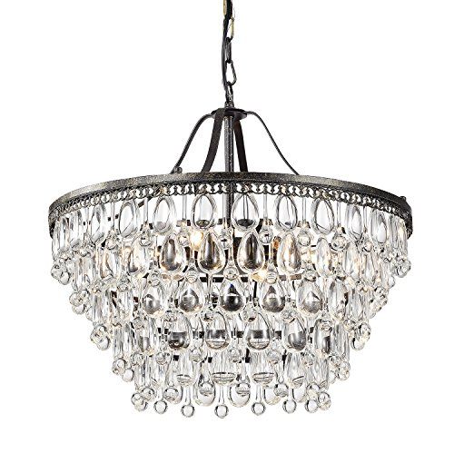 Edvivi 6-Light Antique Bronze Chandelier with Crystals Glam Lighting