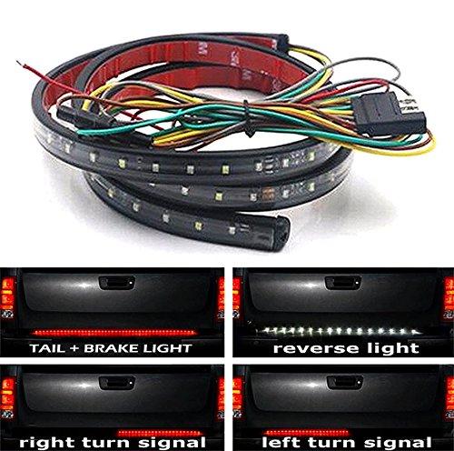 ICBEAMER 5-Function 60″ 2 Row LED Truck Tailgate Side Bed Light Strip Bar Waterproof Reverse Turn Signal, Parking, Brake