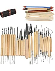 LEADSTAR Clay Tools Set, Pottery Tools 30 Pieces Ceramic Clay Pottery Sculpting Carving Tool Set for Pottery Rock Painting Mandala Art Shaping Modeling Embossing Set Handmade Clay Sculpture DIY