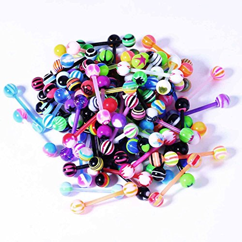 BodyJ4You LOT 50 Pcs 14G Multi Color Assortment Flexible Tongue Rings Barbells Mix Piercing